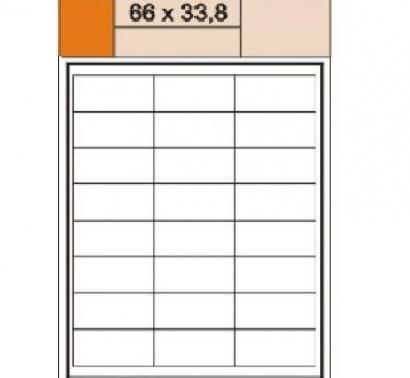 Etikety Print  A4 66 x 33,8 bílé,100 archů